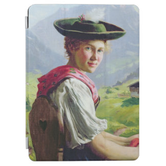 Girl with a Hat in Mountain Landscape iPad Air Cover