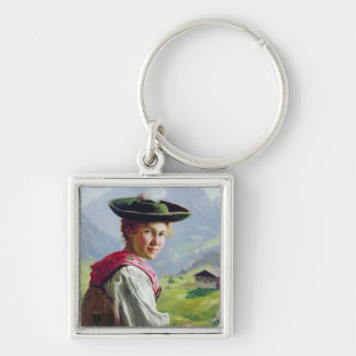 Girl with a Hat in Mountain Landscape Silver-Colored Square Key Ring