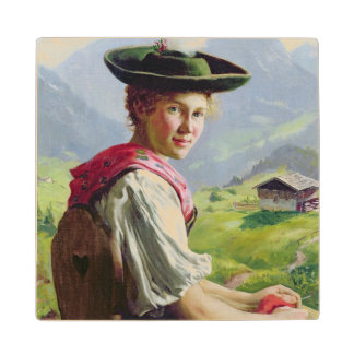 Girl with a Hat in Mountain Landscape Maple Wood Coaster
