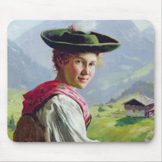 Girl with a Hat in Mountain Landscape Mouse Pad