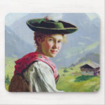 Girl with a Hat in Mountain Landscape Mouse Pads