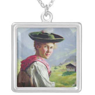 Girl with a Hat in Mountain Landscape Silver Plated Necklace