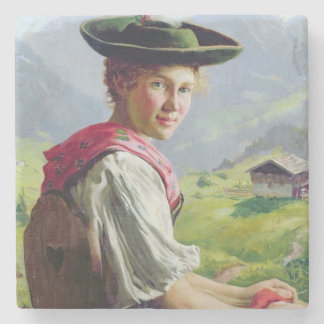 Girl with a Hat in Mountain Landscape Stone Coaster