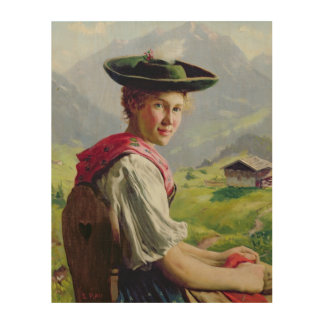 Girl with a Hat in Mountain Landscape Wood Wall Decor