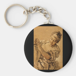 Girl with a Jug'_Studies of the Masters Basic Round Button Key Ring