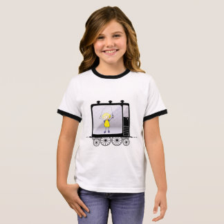Girl with a jump rope in the train. ringer T-Shirt