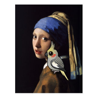 Girl with a Pearl Cockatiel Postcard