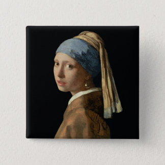 Girl with a Pearl Earring, c.1665-6 (oil on canvas 15 Cm Square Badge