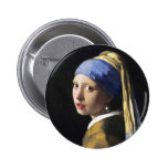 Girl with a Pearl Earring, Jan Vermeer Pinback Button