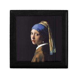 Girl with a Pearl Earring Painting by Vermeer Small Square Gift Box