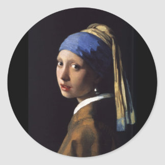 Girl with a Pearl Earring Round Sticker