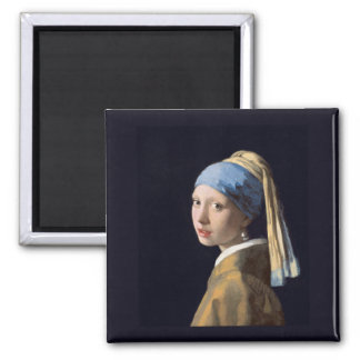 Girl with a Pearl Earring, Vermeer Square Magnet