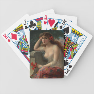 Girl with a Poppy by Emile Vernon Bicycle Playing Cards
