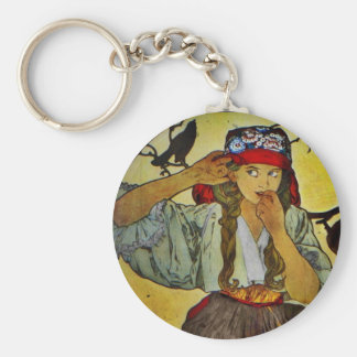 Girl with a Raven Key Ring