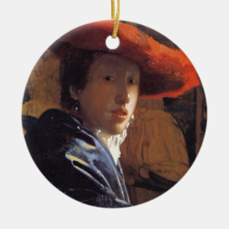 Girl with a Red Hat, c.1665 (oil on panel) Christmas Ornament