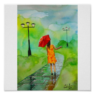 GIRL WITH A RED UMBRELLA POSTER