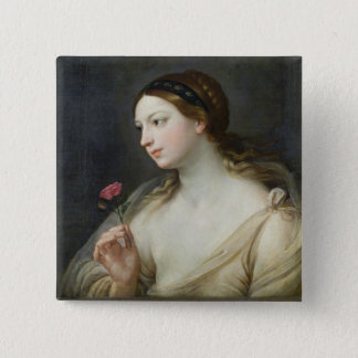 Girl with a Rose (oil on canvas) 15 Cm Square Badge