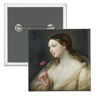 Girl with a Rose (oil on canvas) Pin