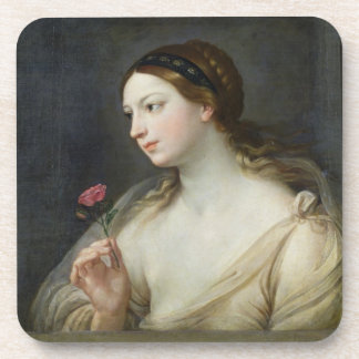 Girl with a Rose (oil on canvas) Drink Coaster