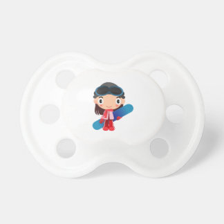Girl with a snowboard cartoon baby pacifier