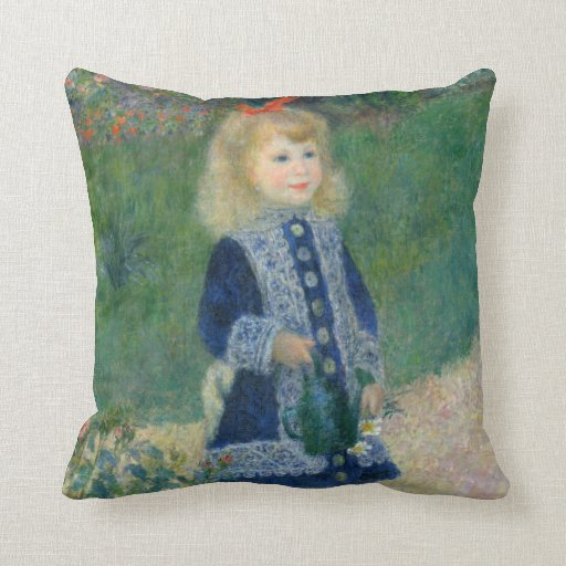 Girl with a Watering Can by Pierre-Auguste Renoir Pillow