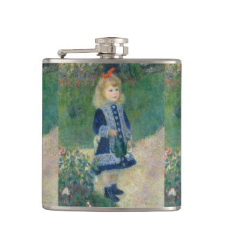 Girl with a Watering Can by Pierre-Auguste Renoir Hip Flask