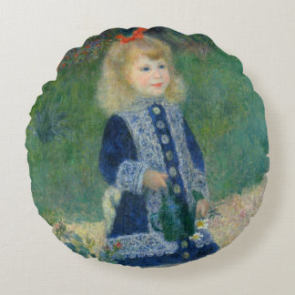 Girl with a Watering Can by Pierre-Auguste Renoir Round Pillow