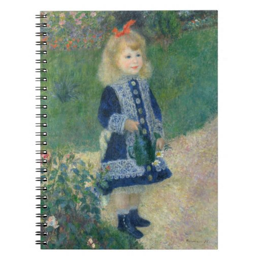Girl with a Watering Can by Pierre-Auguste Renoir Spiral Notebook