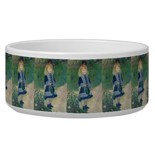 Girl with a Watering Can by Pierre-Auguste Renoir Pet Bowls