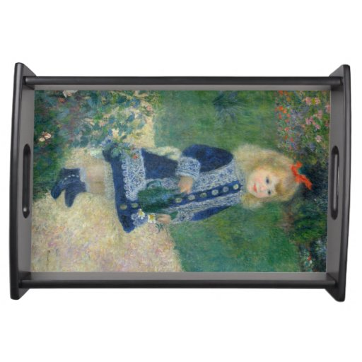 Girl with a Watering Can by Pierre-Auguste Renoir Serving Tray