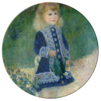 Girl with a Watering Can by Pierre-Auguste Renoir Porcelain Plates