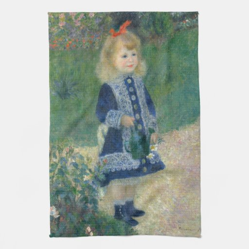 Girl with a Watering Can by Pierre-Auguste Renoir Towels