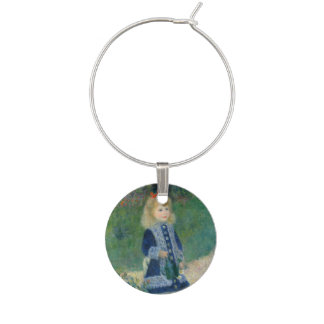 Girl with a Watering Can by Pierre-Auguste Renoir Wine Glass Charm