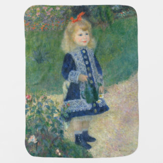 Girl with a Watering Can by Pierre-Auguste Renoir Receiving Blankets