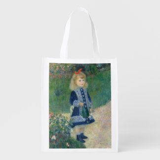 Girl with a Watering Can by Pierre-Auguste Renoir Reusable Grocery Bags