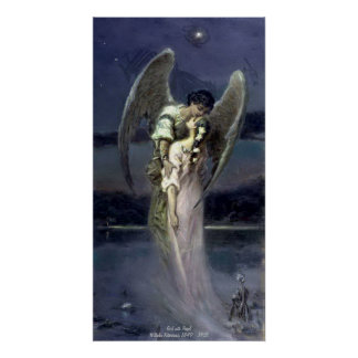 Girl with Angel - Wilhelm Kotarbinski Poster