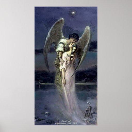 Girl with Angel - Wilhelm Kotarbinski Print
