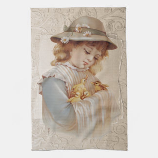 Girl with Baby Ducks Tea Towel