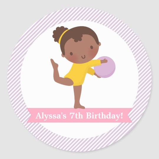 Girl with Ball Gymnastics Kids Birthday Party Classic Round Sticker