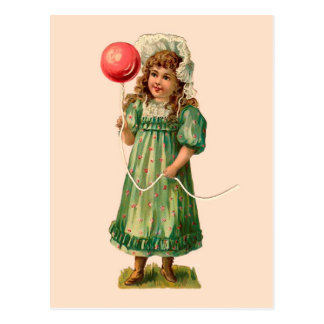 Girl With Balloon Vintage Post Cards