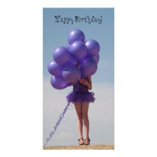 Girl with Balloons Card Custom Photo Card