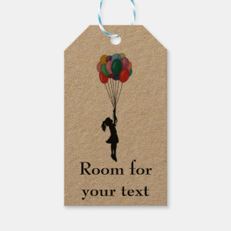 Girl with balloons customisable tag