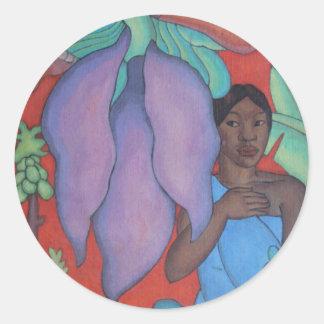 'Girl with Banana Leaf' - Arman Manookian Round Sticker
