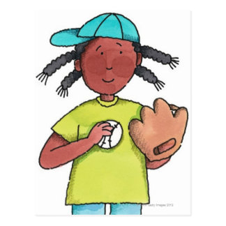 Girl with Baseball & Glove Postcard