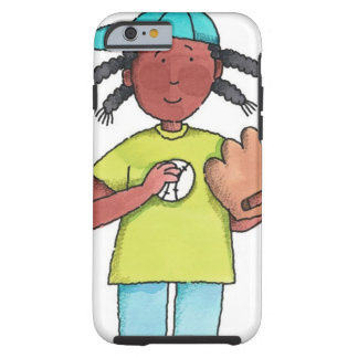 Girl with Baseball & Glove Tough iPhone 6 Case