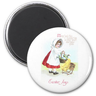Girl with Basket of Eggs and Chicks 6 Cm Round Magnet