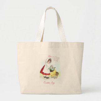 Girl with Basket of Eggs and Chicks Bags