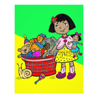 Girl With Basket Of Toys 21.5 Cm X 28 Cm Flyer