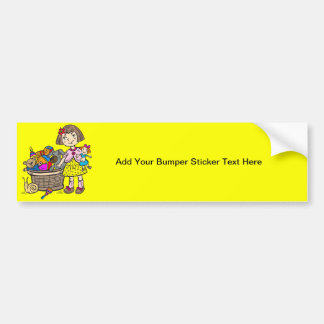 Girl With Basket Of Toys Car Bumper Sticker