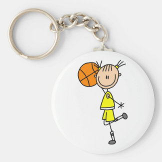 Girl With Basketball T-shirts and Gifts Basic Round Button Key Ring